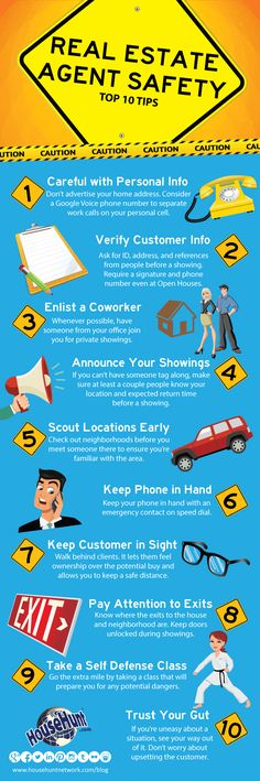 Top 10 Real Estate Agent Safety Tips #Infographic : http://www.blog.househuntnetwork.com/top-10-real-estate-agent-safety-tips/