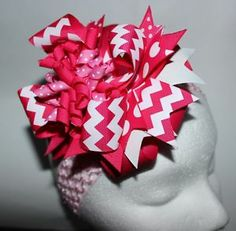 Over The Top Pink Chevron Hair Bow