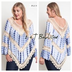 """🎉SALE 🎉 PLUS Tie-dye crochet tunic Gorgeous Tie-dye crochet tunic in blue. Available in size XL(12-14), 1X(14-16) and 2X(16-18). TK1825311.   60% cotton 40% polyester. LENGTH: approximately 36"""" from top of shoulder to longest point. BUST: XL-22"""" 1X-22.5"""" 2X-23"""".  Across bust from armpit to armpit. 2 a T Boutique  Tops Tunics"""