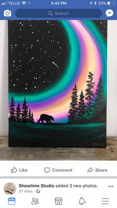 bear painting Bear Lights Northern northernlights painting is part of pencil-drawings - pencil-drawings Easy Canvas Painting, Acrylic Canvas, Diy Painting, Painting & Drawing, Canvas Art, Painting Abstract, Oil Pastel Art, Oil Pastel Drawings, Oil Pastels