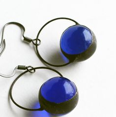 Stained Glass Jewelry Earrings Cobalt Blue Glass por LAGlass