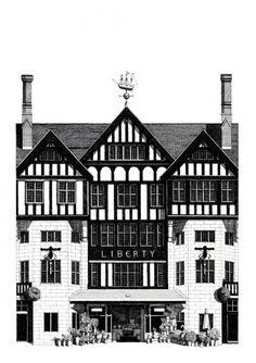 """""""Libery store london"""" Giclee print sur papier Hahnemuhle Albrecht Durer 210gr 42x59 cm - signé"""