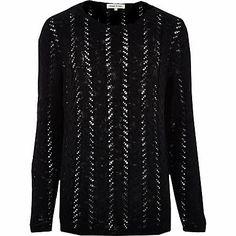 Black cable knit mesh jumper $64.00