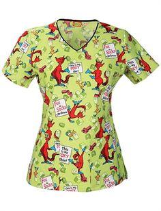 Scrubs - Cherokee Tooniforms 100% Cotton My Foxy Shirt Dr. Seuss Scrub Top