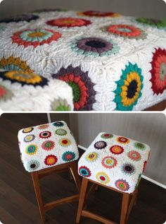 Crochet granny square stool covers These are actually pretty sweet looking! Crochet Diy, Love Crochet, Crochet Crafts, Crochet Projects, Vintage Crochet, Crochet Squares, Crochet Granny, Crochet Motif, Hand Embroidery