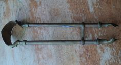 Antique Brass Fireplace Hearth Tongs with Claws and Hook to keep it closed