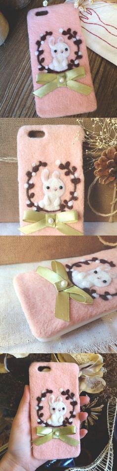 Handmade needle felted felting cute animal project bunny rabbit iphone case