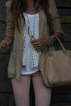 Linen blazers, crochet top, loose tank, and light pants