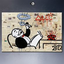 Alec monopoly no5 big Graffiti art print on canvas for wall picture decoration oil painting in living room(China (Mainland))