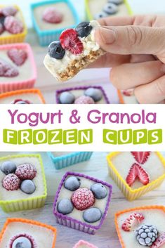Frozen Yogurt Granola Berry Cups, a fun and refreshing treat for your kids and the whole family. A lovely after school snack or toddler treat.