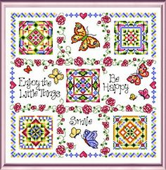Tic Tac Summer - Butterfly cross stitch pattern designed by Ursula Michael. Category: Sayings.