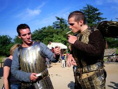 "Jonathan Rhys Meyers (Henry VIII)and Henry Cavill (Charles Brandon) take a smoke break on the set of Showtime's ""The Tudors."""