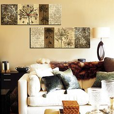 +Modern+Style+Floral+Wall+Clock+in+Canvas+2pcs+–+USD+$+54.99