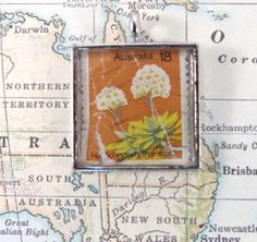 Vintage Australia Postage Stamp Necklace Pendant by 12be on Etsy, $14.50