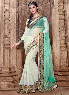 Fine Net Off White Designer Saree