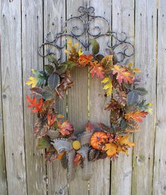20 inch Grapevine Wreath with Fall Leaves, Pumpkin and Burlap Bow by SuzyPetalPusher on Etsy
