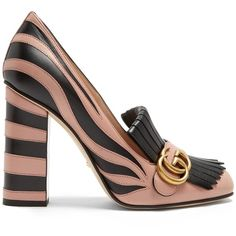 Gucci Marmont fringed leather pumps ($990) ❤ liked on Polyvore featuring shoes, pumps, black nude, fringe shoes, embellished pumps, leather peep toe pumps, peep-toe pumps and zebra pumps