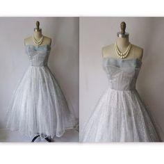 50's Prom Dress // Vintage 1950's Strapless Metallic Tulle Prom Wedding Dress XS