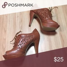 """Lace Up Guess Heels Guess lace up peep toe heels. Faux leather. Brown / camel color. A few minor scuffs. 4 1/4"""" heel height & 1.5"""" platform.  no trades 