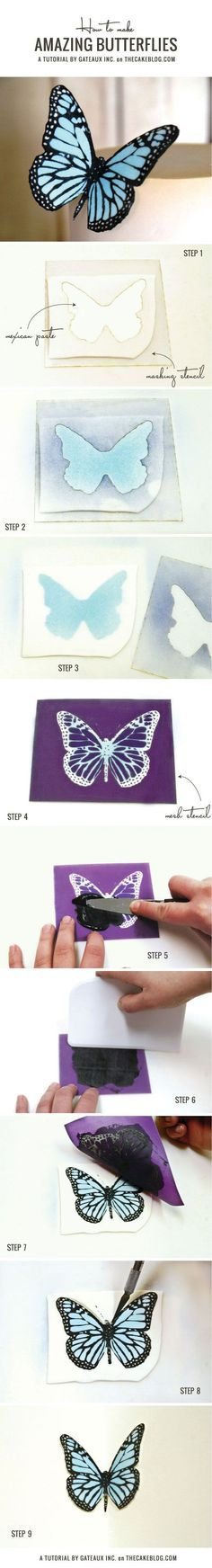 How to make amazing fondant butterflies in no time flat | by Gateux Inc. on TheCakeBlog.com: