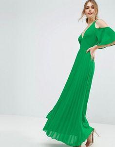 ASOS Cold Shoulder Pleated Maxi Dress