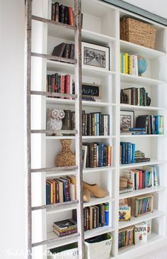 Ikea Billy Bookcase Hack with sliding ladder already have the runner piece for the ladder. My shelves need top to bottom space and all would be filled with books.