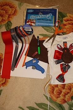 to make ribbon turkey shirt, Nicole, thought of Caitlyn. Sewing For Kids, Baby Sewing, Diy For Kids, How To Make Ribbon, Diy Ribbon, Thanksgiving Tutu, Happy Turkey Day, Ribbon Shirt, Diy Hair Bows