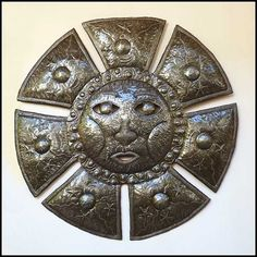 "Large Metal Sun Wall Hanging - Haitian Steel Drum - 34"" $159.95 -  Steel Drum Metal Art from  Haiti - Interior Decor or Garden Décor   * Found at  www.HaitiMetalArt.com"