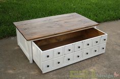 Apothecary Trundle Coffee Table or Toy Box. The bottom half is on wheels and slides out for hidden storage, making it beautiful AND functional! DIY plans from Ana White.