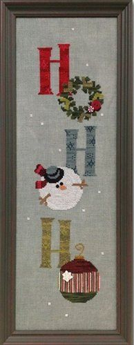 """Ho Ho Ho"" is the title of this cross stitch pattern from Art To Heart and the pricing includes the Just Another Button Company buttons."