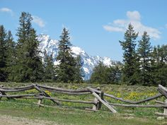 split rail fence and mountain