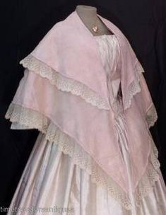 1850 pale pink champagne organdy mantle