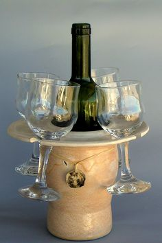 Hand made ceramic wine bottle holder