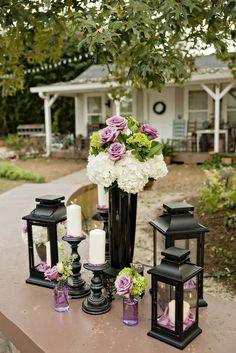 Purple and Black Lantern Wedding Decor Ideas via Andie Freeman / http://www.himisspuff.com/100-unique-and-romantic-lantern-wedding-ideas/7/