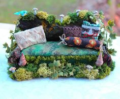 Dollhouse Miniature Fairy Sofa Couch by 19thDayMiniatures on Etsy, $40.00