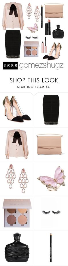 """""""rose, nude, gold, black"""" by gomezshugz ❤ liked on Polyvore featuring Gianvito Rossi, Hervé Léger, Emilio Pucci, Eddie Borgo, Ippolita, Stephen Webster, Arbonne, Violet Voss, NYX and Too Faced Cosmetics"""