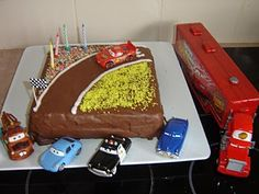 Will also steal this cake idea/layout for the family birthday, and stick a few cars on top, Joel will love it!