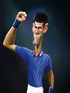 """caricature de Novak Djokovic pour le livre """"légendes du tennis"""" (Vents d'Ouest)"""