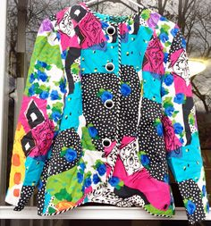 Women's 90's Bright Colored Abstract Vintage Polka Dot Floral Jacket Graphic Hip Hop Hipster Neon Blazer Fashion Pop Art Coat by hollydollyvintageky on Etsy https://www.etsy.com/listing/485368678/womens-90s-bright-colored-abstract