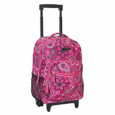 "Girls Pink Polka Dot White 17/"" School Travel Tote Bag Large Rolling Backpack"
