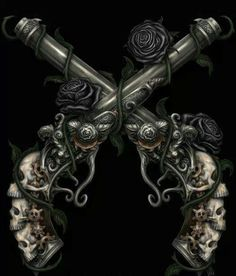 Pirates: pistols with skull grips. Guns And Roses, Skulls And Roses, Skull Tattoos, New Tattoos, Tatoos, Strong Tattoos, Sunset Tattoos, Taurus Tattoos, Skeleton Tattoos