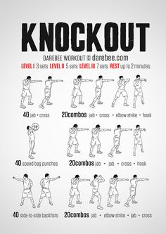 Knockout Workout - Upper body work does not always have to have pull ups and push ups nor does it require weights. A dynamic approach that employs shadow boxing moves and precise martial arts techniques pushes the muscles to work in both concentric and eccentric ways increasing effective power and speed. Don't spare yourself, the Knockout workout is here to help you.