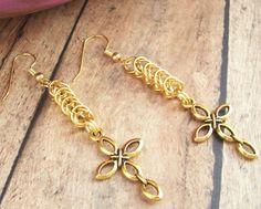 Gold Cross Earrings w/ Byzantine Chain Christian Jewelry Gold Cross Earrings Chainmaille Earrings Cross Jewelry Christian Earrings16.00 USD
