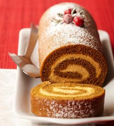 Gingerbread-Pumpkin Yule Log:  Beautiful and tasty holiday baking treat.