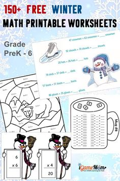 Free Winter Math Worksheets Preschool Grade5, learn counting, numbers, addition, subtraction, multiplication, division, statistics, charts, algebra equations, geometry with snowflakes, polar bear, ice cube, ... Science Activities For Kids, Science Experiments Kids, Math For Kids, Learning Activities, Kids Learning, Steam Learning, Learning Skills, Winter Activities, Stem Activities