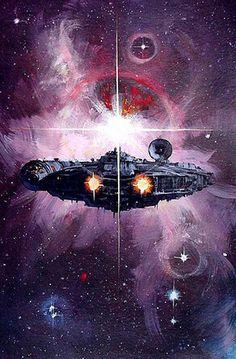 Millennium Falcon Han Solo Chewbacca Star Wars Empire Strikes Back Return of the Jedi Star Trek, Nave Star Wars, Star Wars Ships, Star Wars Art, Millennium Falcon, Science Fiction, 70s Sci Fi Art, Chewbacca, Sith