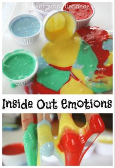 We have so many emotions going on inside our bodies. Exploring emotions using sensory play is a great tool for kids to express their feelings and to learn the body-mind connection. Feelings Preschool, Teaching Emotions, Feelings Activities, Social Emotional Activities, Social Emotional Development, Child Development, Inside Out Emotions, Feelings And Emotions, How To Express Feelings