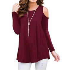 9f13c6713c PrinStory Women s Long Sleeve Casual Cold Shoulder Tunic Tops Loose Blouse  Shirts at Amazon Women s Clothing store