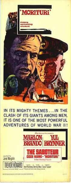 Morituri (1965) Yul Brynner, Marlon Brando, The Clash, Film Posters, World War Ii, Tv, Adventure, History, Movies