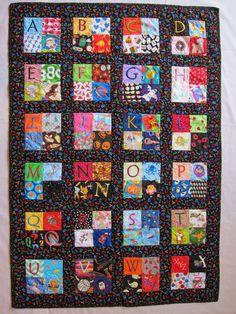 Child's Embroidered Alphabet Quilt I Spy Quilt by StitchNWine, $75.00
